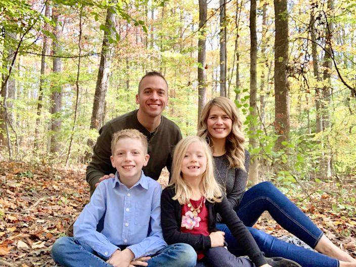 Clay and Karen Huffman with their son, Weston, 10, and rainbow baby Violet, 7. (Karen Huffman)