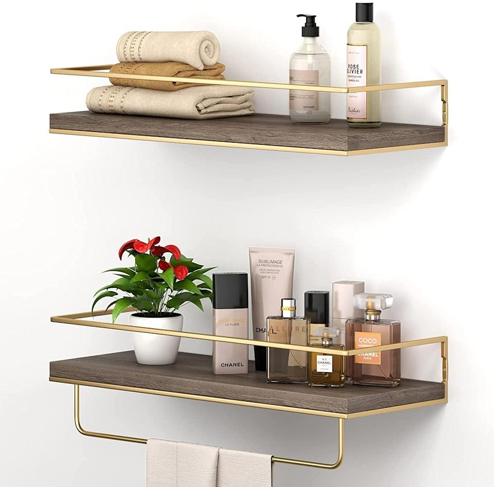 <p>Made from eco-friendly cedar wood, the <span>Shario Rustic Floating Shelves</span> ($26 for two) bring a level of modern luxury to any room thanks to their gold-tinted finishings. Plus, their durable railings ensure your items won't fall off.</p>