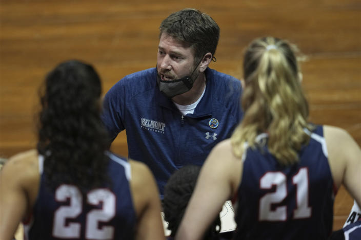 Belmont head coach Bart Brooks talks to his team during the first half of a college basketball game against Gonzaga in the first round of the women's NCAA tournament at the University Events Center in San Marcos, Texas, Monday, March 22, 2021. (AP Photo/Chuck Burton)