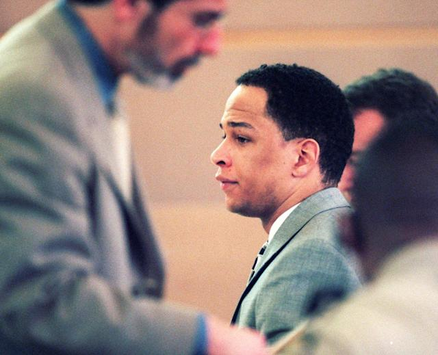 Rae Carruth was tried and convicted of orchestrating a hit on his pregnant fiancee, Cherica Adams, in 2001. (AP)