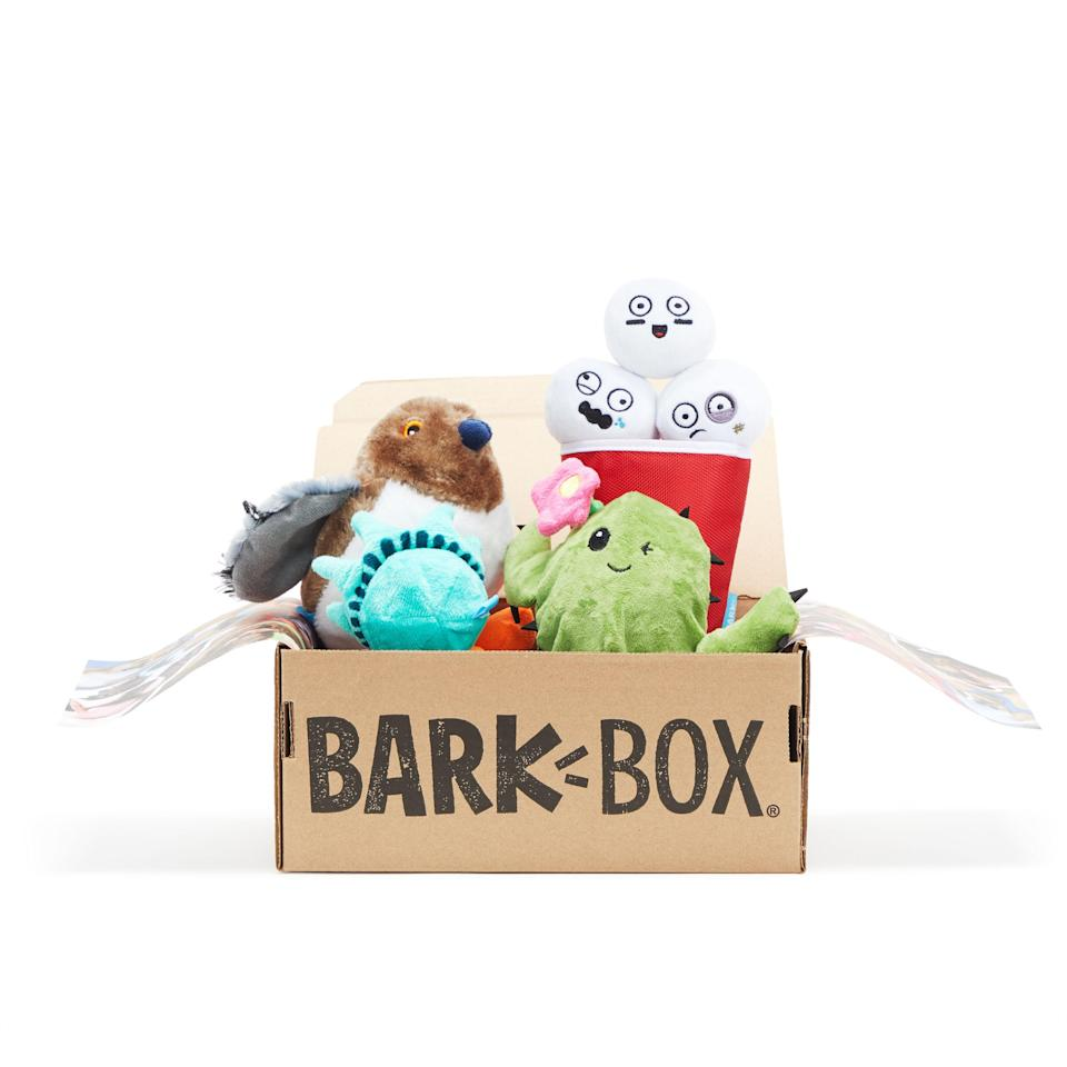 """<h3>Monthly Dog-Box Subscription</h3><p>You and your favorite fur friend deserve a monthly shipment of innovative toys, all-natural treat bags, and chews from a unique themed collection — and for National Pet Day, BarkBox is offering a special deal on Amazon with <strong>20% off BarkBox's <a href=""""https://www.amazon.com/dp/B07NDM77TG?ref=myi_title_dp&th=1"""" rel=""""nofollow noopener"""" target=""""_blank"""" data-ylk=""""slk:Best of Box Plush Toys Bundle"""" class=""""link rapid-noclick-resp"""">Best of Box Plush Toys Bundle</a></strong>.</p><br><br><strong>Barkbox</strong> Monthly Box Subscription, $35, available at <a href=""""https://www.barkbox.com/gift"""" rel=""""nofollow noopener"""" target=""""_blank"""" data-ylk=""""slk:BarkBox"""" class=""""link rapid-noclick-resp"""">BarkBox</a>"""