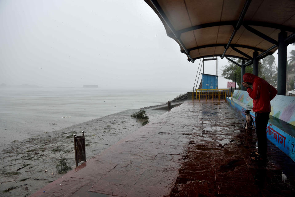 ALIBAUG, INDIA - JUNE 3: Deserted view of Alibag beach due Nisarga Cyclone landfall on June 3, 2020 in Alibaug, India. Alibaug witnessed wind speeds of up to 120 kilometres per hour. Although the cyclone made the landfall just 95 kilometres from Mumbai, the Maharashtra capital largely escaped its wrath. (Photo by Satish Bate/Hindustan Times via Getty Images)