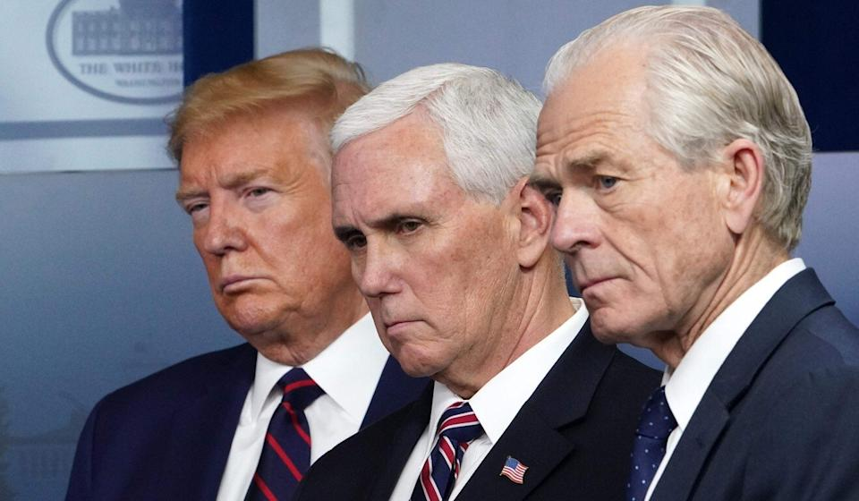 US President Donald Trump, Vice-President Mike Pence and Navarro during the coronavirus briefing at the White House on Thursday. Photo: AFP