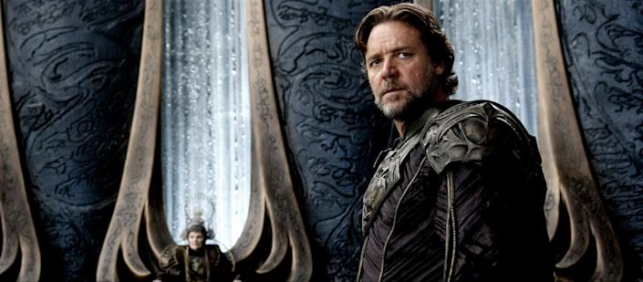 "This film publicity image released by Warner Bros. Pictures shows Russell Crowe as Joe-El in ""Man of Steel."" (AP Photo/Warner Bros. Pictures, Clay Enos)"