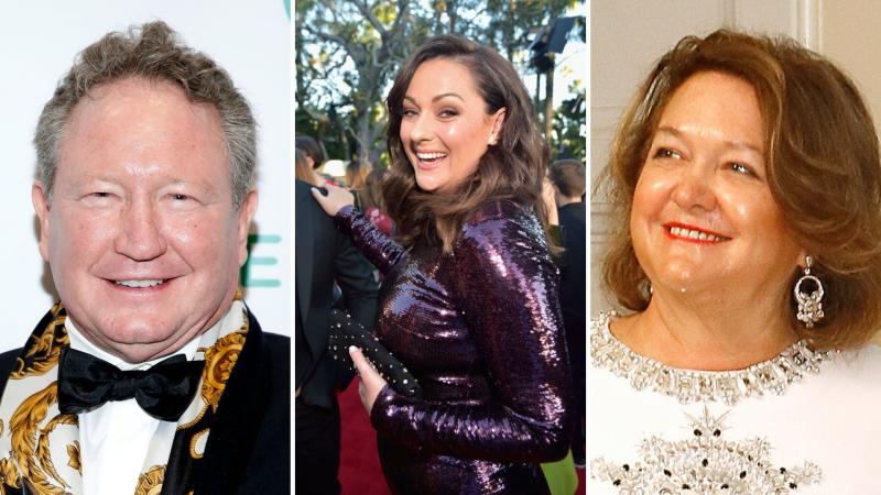 Pictured: Twiggy Forrest, Celeste Barber and Gina Rinehart. Images: Getty