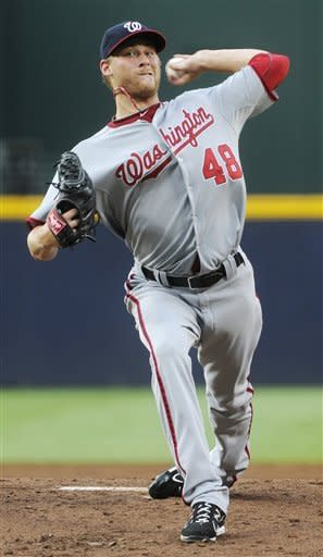 Washington Nationals' Ross Detwiler pitches to an Atlanta Braves batter during the first inning of a baseball game, Friday, June 29, 2012, in Atlanta. (AP Photo/John Amis)