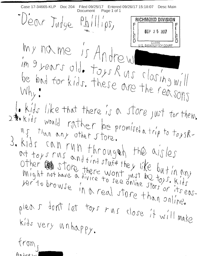 child writes adorable letter to toys 'r' us bankruptcy judge