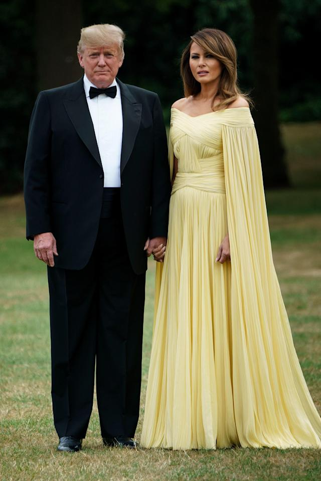 """<h1 class=""""title"""">BRITAIN-US-DIPLOMACY-TRUMP</h1> <div class=""""caption""""> President Donald Trump and First Lady Melania Trump at the state dinner in England. </div> <cite class=""""credit"""">BRENDAN SMIALOWSKI</cite>"""