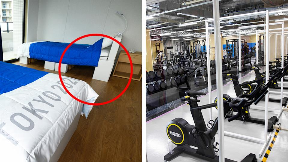Cardboard beds (pictured left) and glass between training equipment (pictured right) at the Tokyo Olympic Village.