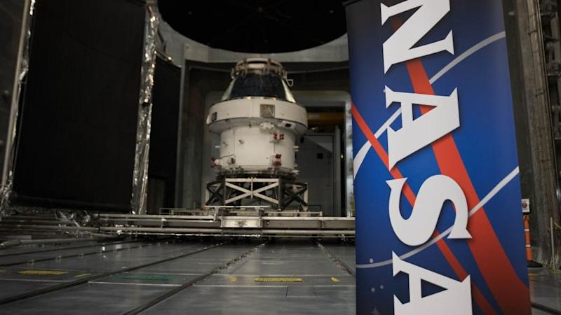 The Orion spacecraft seen during the Nasa Unveil event.