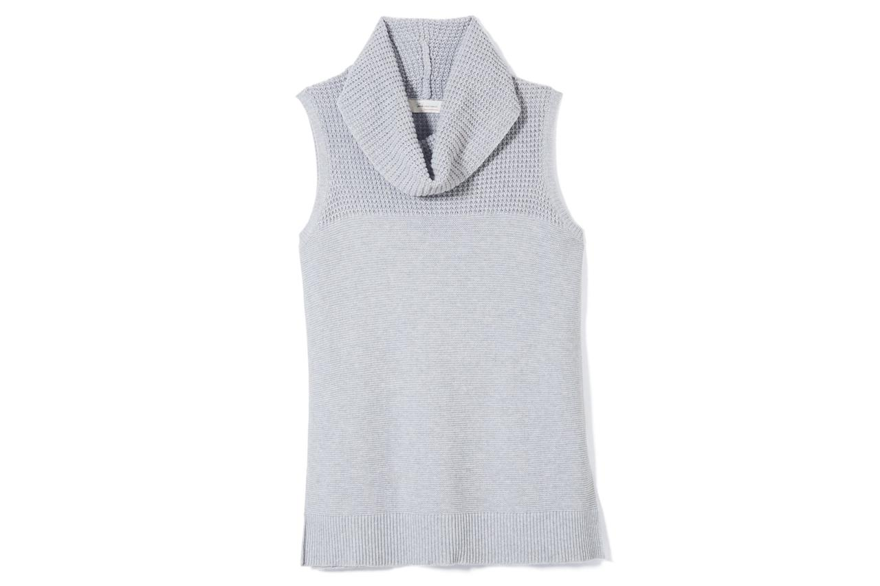 """<p>The sleeveless cut on this hip-length sweater makes it an ultra-versatile styling piece—wear it on its own while the weather is just cooling off, then layer it over something long-sleeved once the deep chill sets in.</p> <p> <strong>To buy: </strong>$69; <a href=""""https://click.linksynergy.com/fs-bin/click?id=93xLBvPhAeE&subid=0&offerid=334105.1&type=10&tmpid=8631&RD_PARM1=http%3A%2F%2Fwww.vincecamuto.com%2Ftwo-by-vince-camuto-cowlneck-sleeveless-sweater%2F9057215.html%3Fdwvar_9057215_colormaterial%3D050%20COTTON%20BULKY%20ACRYLIC&u1=RS7SeriouslyCozyOversizedSweatersFASRDSept17"""" target=""""_blank"""">vincecamuto.com</a>.</p>"""