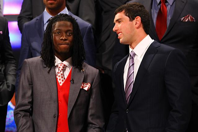 NEW YORK, NY - APRIL 26: (L-R) Dre Kirkpatrick from Alabama and Andrew Luck from Stanford talk on stage during the 2012 NFL Draft at Radio City Music Hall on April 26, 2012 in New York City. (Photo by Al Bello/Getty Images)