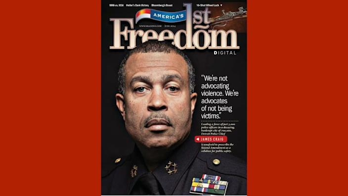 """<div class=""""inline-image__caption""""><p>Craig appeared on the cover of the NRA's magazine in 2013.</p></div> <div class=""""inline-image__credit"""">Via NRA</div>"""