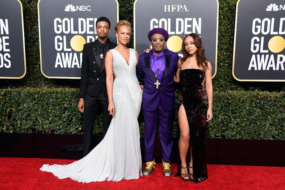 <p>Jackson Lee, Tonya Lewis Lee, Spike Lee, and Satchel Lee attend the 76th Annual Golden Globe Awards at the Beverly Hilton Hotel in Beverly Hills, Calif., on Jan. 6, 2019. (Photo: Getty Images) </p>