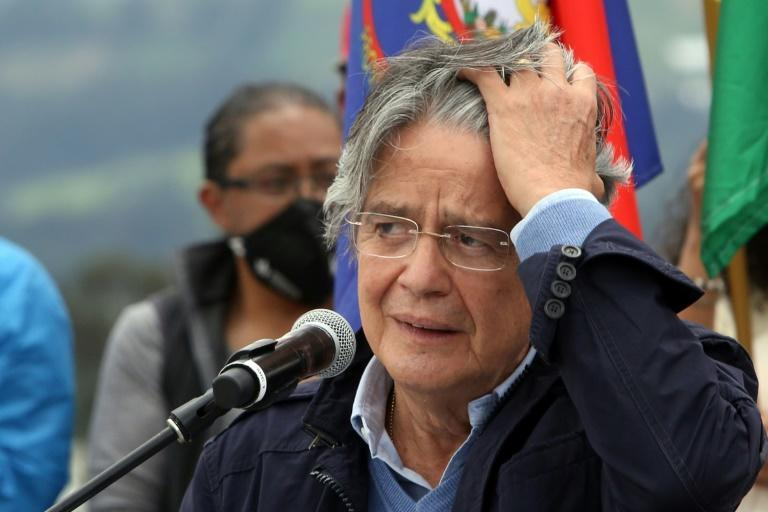 Ecuadoran presidential contender Guillermo Lasso gives a campaign closing message at the Reloj Solar Quitsato, near Cayambe, on April 7, 2021
