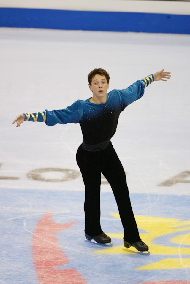 Competing in the men's free program during the State Farm U.S. Figure Skating Championships at the Staples Center in Los Angeleson Jan. 10, 2002.