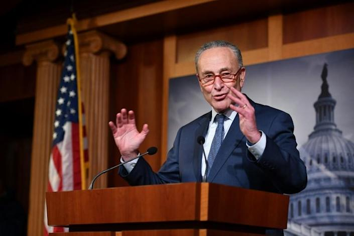 """US Senate Minority Leader Chuck Schumer said Trump's acquittal was """"virtually valueless"""" since Republicans refused witnesses at his trial (AFP Photo/Mandel NGAN)"""