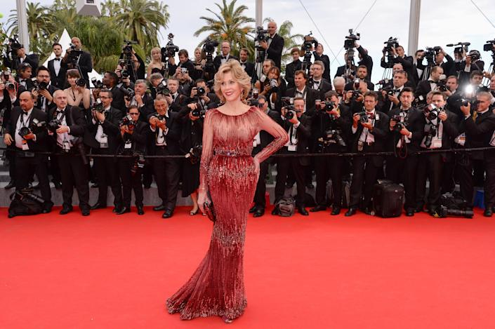 """Fonda debuted the gown at 2014 Cannes Film Festival for the """"Grace of Monaco"""" premiere. (Photo: Stephane Cardinale - Corbis via Getty Images)"""
