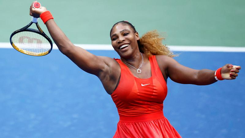 Seen here, Serena Williams made it comfortably through to the second round of the US Open.