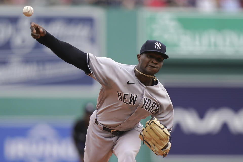 New York Yankees' Domingo German delivers a pitch against the Boston Red Sox in the first inning of a baseball game, Sunday, July 25, 2021, in Boston. (AP Photo/Steven Senne)