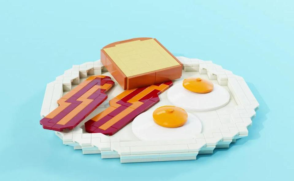 Bacon, eggs and toast make up this LEGO breakfast.