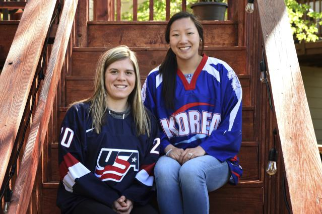 Hannah Brandt, left, plays hockey for Team USA, while sister Marissa Brandt plays for Korea. (AP)