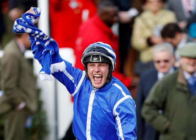 Horse Racing - Cheltenham Festival - Cheltenham Racecourse, Cheltenham, Britain - March 15, 2018 Paul Townend celebrates after winning the 15:30 Sun Bets Stayers' Hurdle REUTERS/Darren Staples