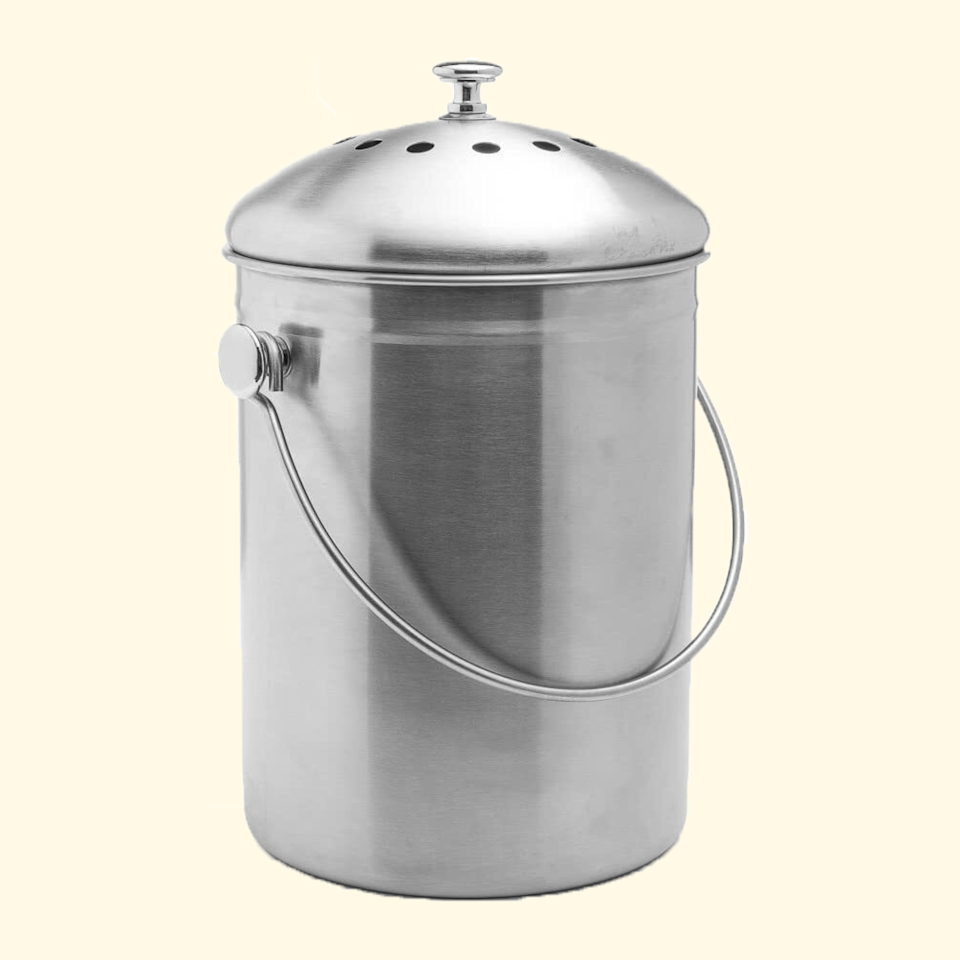 """You can store your food scraps in anything with a lid, whether that's this sleek stainless-steel compost bin or gallon mason jars and empty yogurt containers, though large households or cooks who use a lot of produce will probably want a bigger bin. Keep it on the counter for easy access while cooking. –<strong>AA</strong> $22, Amazon. <a href=""""https://www.amazon.com/Epica-Stainless-Compost-Gallon-Charcoal/dp/B00AMNCYNQ/"""" rel=""""nofollow noopener"""" target=""""_blank"""" data-ylk=""""slk:Get it now!"""" class=""""link rapid-noclick-resp"""">Get it now!</a>"""