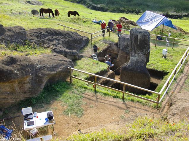 """An overview of the EISP excavation, <br> <a href=""""http://www.eisp.org/"""" rel=""""nofollow noopener"""" target=""""_blank"""" data-ylk=""""slk:For more information visit the Easter Island Statue Project"""" class=""""link rapid-noclick-resp"""">For more information visit the Easter Island Statue Project</a>"""