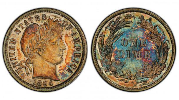 PHOTO: A 1894-S Barber dime sold for over $1.3 million at Stack's Bowers Galleries. The coin is one of nine survivors from the original 24-piece mintage. (Stack's Bowers Galleries)