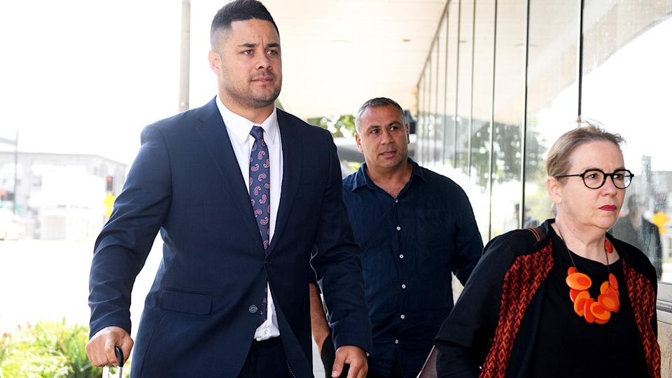 Jarryd Hayne, pictured here arriving to defend two charges of aggravated sexual assault.