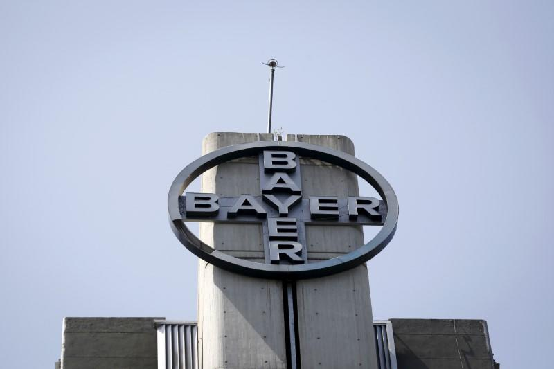 FILE PHOTO - The corporate logo of Bayer is seen at the headquarters building in Caracas