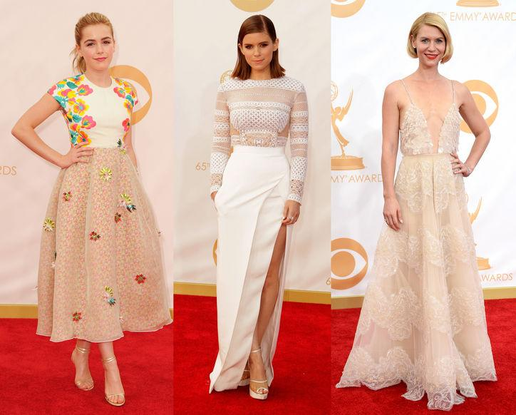 """<div class=""""caption-credit""""> Photo by: Getty Images</div><div class=""""caption-title""""></div><b>Exquisite Texture:</b> Delicate, thoughtful detail and embellishment ruled the Emmys in a range of beautiful forms. Budding style star Kiernan Shipka made waves on Twitter with her choice of Spanish-label Delpozo's floral creation. Going for an edgy feel, <i>House of Cards</i>' Kate Mara opted for a modern peekaboo winter white J. Mendel and <i>Homeland</i> star Claire Danes updated her signature slip dress with a diaphanous beaded and paillette-covered Armani Privé gown. <br> <br> <b>More from <i>Glamour</i>:</b> <br> <a rel=""""nofollow"""" href=""""http://www.glamour.com/beauty/2013/04/25-celebrity-haircuts-that-will-make-you-want-bangs?mbid=synd_yshine"""" target="""""""">25 Celebrity Hairstyles That Will Make You Want Bangs</a> <br> <a rel=""""nofollow"""" href=""""http://www.glamour.com/fashion/2012/08/10-wardrobe-essentials-every-woman-should-own?mbid=synd_yshine"""" target="""""""">10 Wardrobe Essentials Every Woman Should Own</a> <br>"""