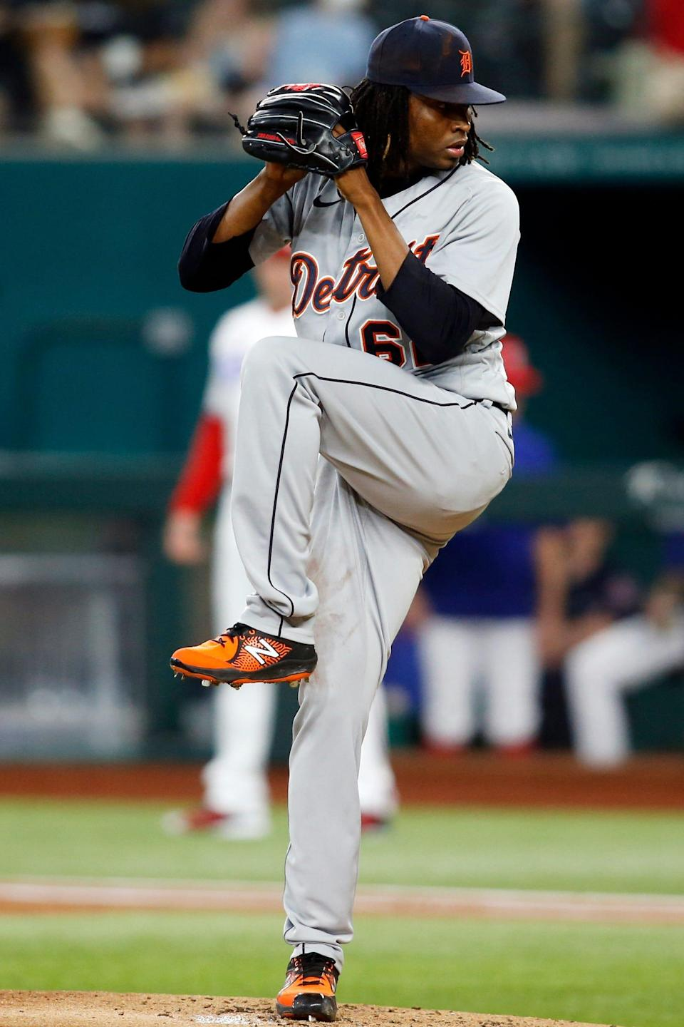 Tigers pitcher Jose Urena throws a pitch in the first inning in Arlington, Texas, Tuesday, July 6, 2021.