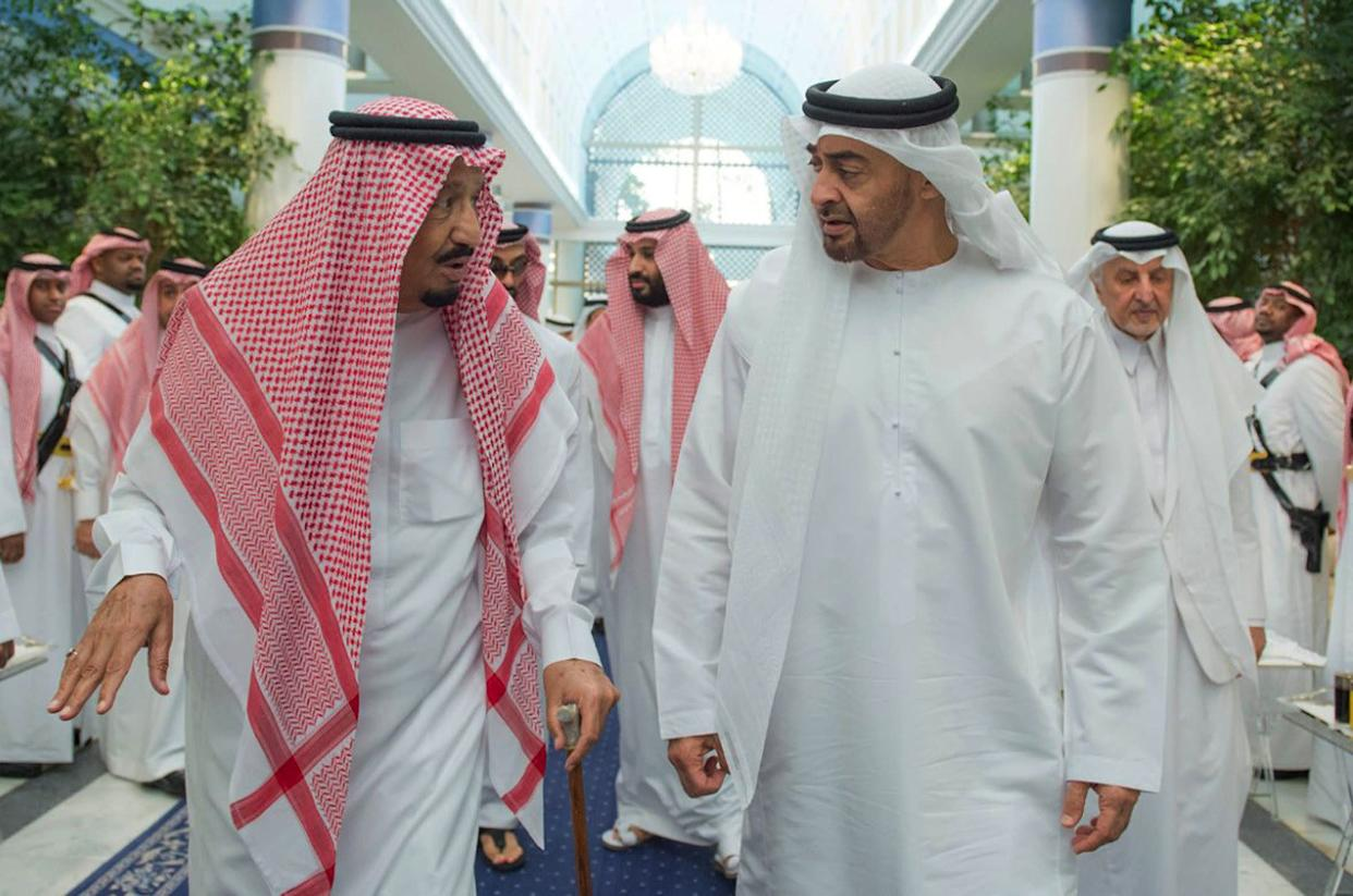 Saudi King Salman (front left) speaks with de facto United Arab Emirates leader Mohammed bin Zayed, Crown Prince of Abu Dhabi, (front right) in Jiddah, Saudi Arabia, in June. Saudi Crown Prince Mohammed bin Salman walks behind them. Saudi allies like the UAE want to avoid association with the Khashoggi scandal. (Photo: Associated Press)