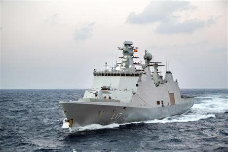 """Danish support vessel L17 """"Esbern Snare"""" of the Danish-Norwegian task group which will transport Syria's chemical agents for destruction performs training in the Mediterranean Seaing in the Mediterranean Sea"""