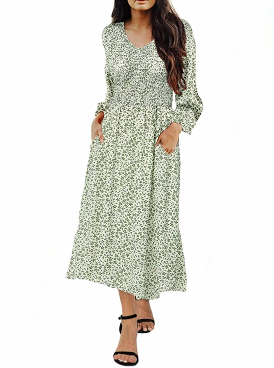 """Always here for a sage green moment. $30, Amazon. <a href=""""https://www.amazon.com/Kranda-Sleeve-Smocked-Pleated-Leopard/dp/B08HYKNTHW/"""" rel=""""nofollow noopener"""" target=""""_blank"""" data-ylk=""""slk:Get it now!"""" class=""""link rapid-noclick-resp"""">Get it now!</a>"""