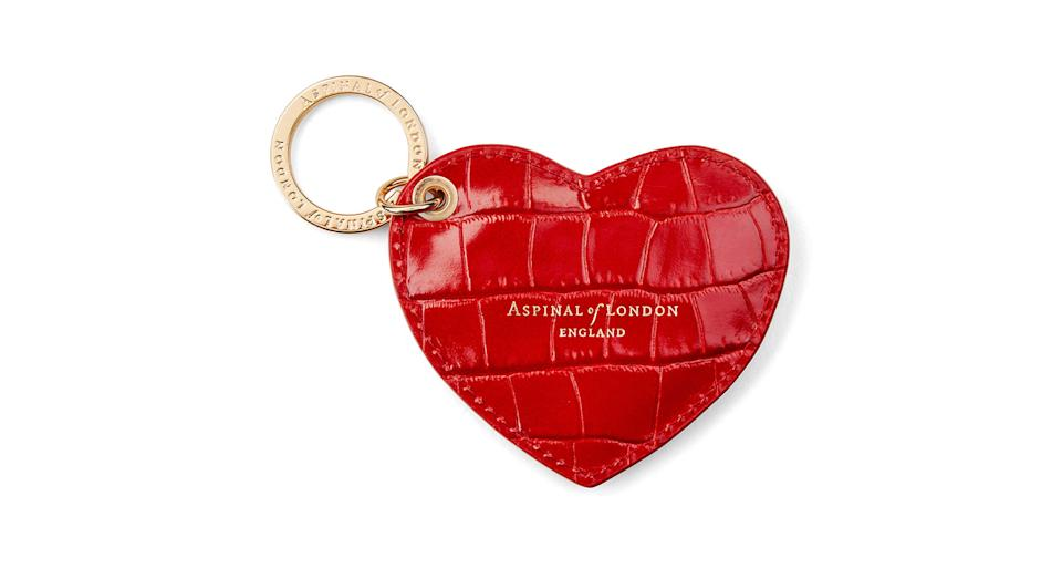 Heart Key Ring Deep Shine Red Small Croc