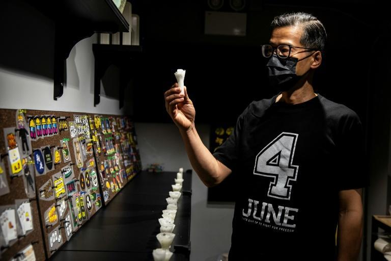 Hong Kong artist Kacey Wong has collected hundreds of spent candle stubs from previous Tiananmen vigils and plans to give them to residents on the anniversary this year