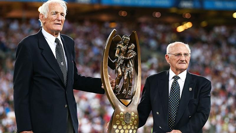 Norm Provan and Arthur Summons, pictured here with the trophy before the 2013 NRL Grand Final.