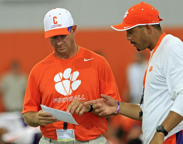 Clemson's Dabo Swinney knows too well how capable assistant Tony Elliott is as a coach. (AP file photo)
