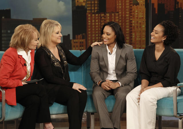 """THE VIEW - (3.1.12) Guest co-host Nancy Grace appeared today on """"The View,"""" along with guests Zac Efron (""""Dr. Seuss' The Lorax"""") and U.S. Olympic Boxing hopeful Quanitta Underwood and her sister Hazzauna. """"The View"""" airs Monday-Friday (11:00 am-12:00 pm, ET) on the ABC Television Network. (Photo by Lou Rocco/ABC via Getty Images) BARBARA WALTERS, NANCY GRACE, QUANITTA UNDERWOOD, HAZZAUNA UNDERWOOD"""
