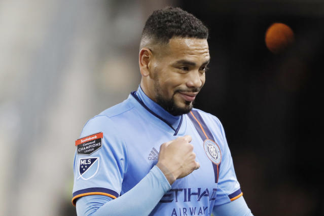 New York City FC defender Alexander Callens (6) crosses himself as he leaves the field after NYCFC defeated San Carlos in a CONCACAF Champions League soccer matchup Wednesday, Feb. 26, 2020, in Harrison, N.J. Callens scored the only goal the game. (AP Photo/Kathy Willens)