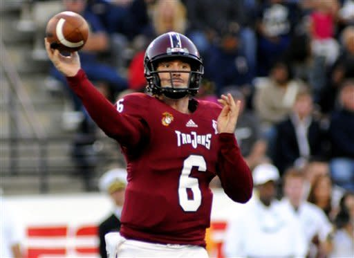Troy quarterback Corey Robinson (6) releases a pass during the second half of an NCAA college football game against Navy in Troy, Ala., Saturday, Nov. 10, 2012. Troy won 41-31. (AP Photo/The (Troy)