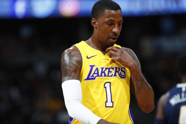 "<a class=""link rapid-noclick-resp"" href=""/nba/players/5159/"" data-ylk=""slk:Kentavious Caldwell-Pope"">Kentavious Caldwell-Pope</a> signed a one-year, $18 million contract with the <a class=""link rapid-noclick-resp"" href=""/nba/teams/lal"" data-ylk=""slk:Lakers"">Lakers</a> last year. (AP)"