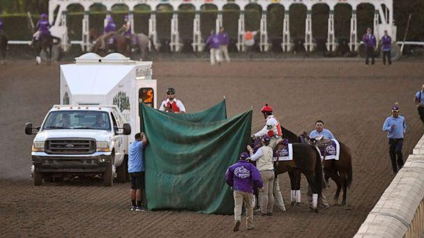 PHOTO: Track workers treat Mongolian Groom after the Breeders' Cup Classic horse race at Santa Anita Park, Saturday, Nov. 2, 2019, in Arcadia, Calif. The jockey eased him up near the eighth pole in the stretch. (Mark J. Terrill/AP)
