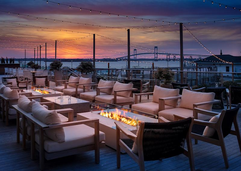 The outdoor patio at Gurney's Newport.