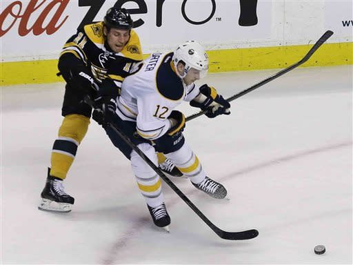 Boston Bruins center Gregory Campbell (11) battles Buffalo Sabres center Kevin Porter (12) for the puck during the first period of an NHL hockey game in Boston, Wednesday, April 17, 2013. (AP Photo/Elise Amendola)