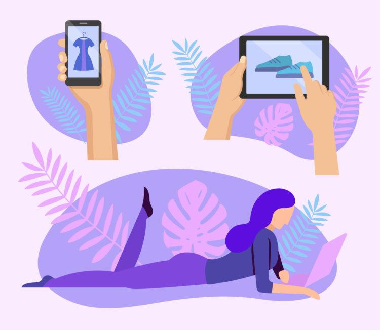 Woman doing online shopping at home with laptop. Human hands and online store on mobile gadget screen. Retail promotion and advertisement banner in flat style. Internet business vector illustration.