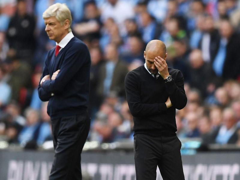 Arsene Wenger was left to delight while Pep Guardiola questioned the 'small details' that went against them (Getty)